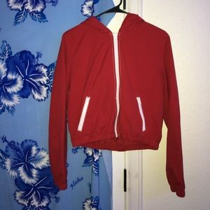 Red Cropped Bomber Jacket